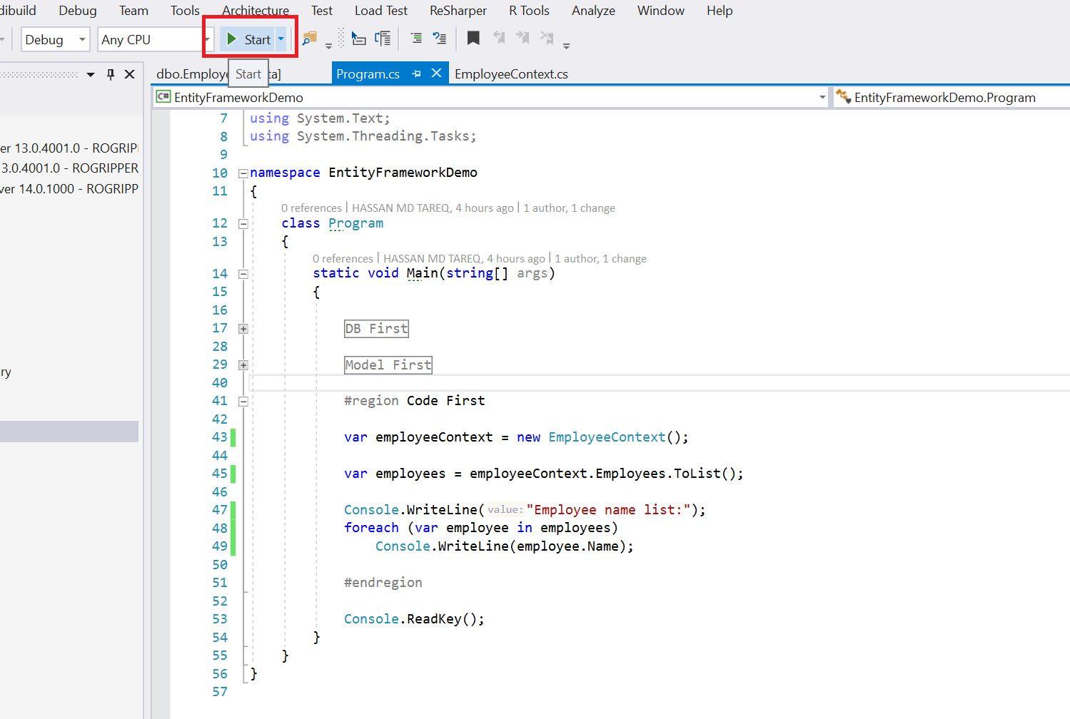 Entity Framework Code Fisrt Approach - Creating edmx from DbContext Step 22